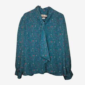 Pendelton | Vintage Teal Tie Paisley Blouse Top